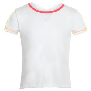 Girls` Crossover High-Low Tennis Tee White with Coral Crush Trim