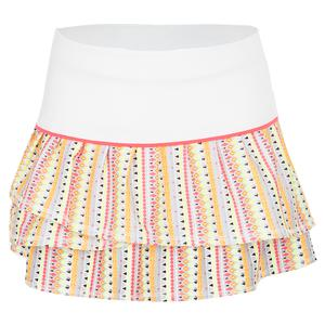 Girls` Pleat Tier Tennis Skirt Lit Print and White