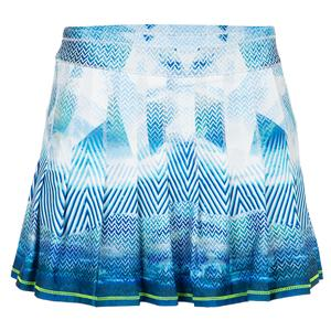 Women`s Long Pleated Tennis Skirt Longitude Print