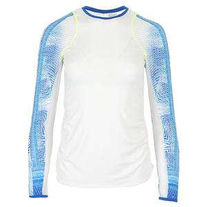 Women`s Long Sleeve Tennis Crew White and Latitude Print