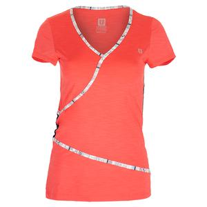 Women`s Wrap Short Sleeve Tennis Top Coral