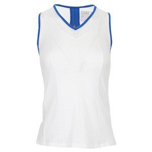 Women`s Shadow Stripe Tennis Tank White