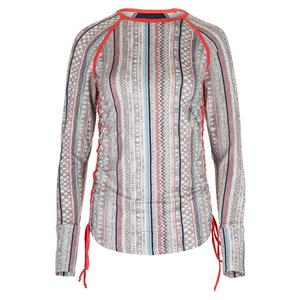 Women`s Tangle Long Sleeve Tennis Top Ikat Stripe Print