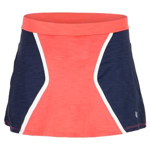 Women`s Geo 13 Inch Tennis Skort Coral and Admiral Blue