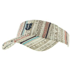 Women`s Low Profile Tennis Visor Ikat Stripes Print