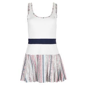 Women`s Volley Tennis Dress White and Ikat Stripe Print