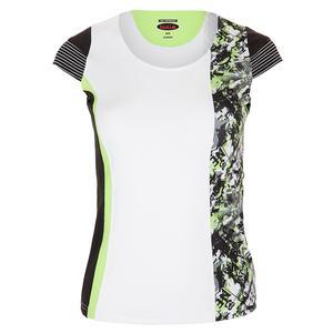 Women`s Velocity Cap Sleeve Tennis Top White and Print