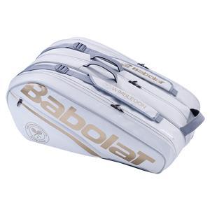 Racquet Holder X12 Wimbledon Tennis Bag White and Gold