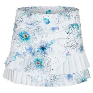 Women`s Power 13 Inch Tennis Skort Floral Ink Print and White