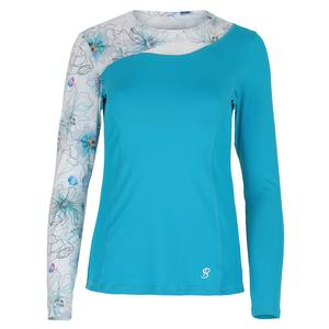Women`s Identity Long Sleeve Tennis Top Surf and Floral Ink Print