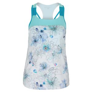 Women`s Watercolor Tennis Tank Floral Ink Print and Air