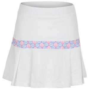 Girls` Mid-Hip Stripe Tennis Skort White