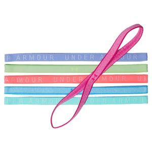 Girls` UA Heathered Mini Headbands 6 Pack Tropic Pink and Brilliance