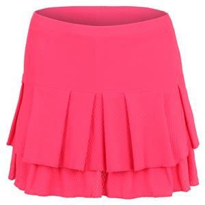 Women`s Long Tier Tennis Skirt Coral Crush