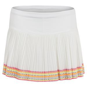 Women`s Pleated Tennis Skirt White and Neon Border