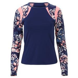 Women`s Lorie Long Sleeve Tennis Top Blue Depths and Botanic Print