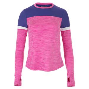Women`s Pacer Long Sleeve Tennis Top Raspberry and Regal Blue