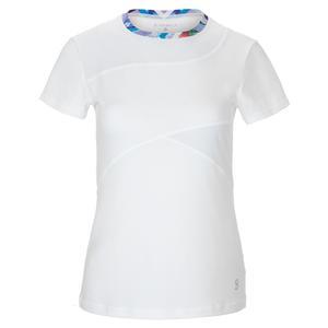 Women`s Guard Short Sleeve Tennis Top White and Royal Garden Print Trim