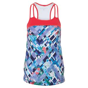 Women`s Gate Tennis Tank Royal Garden Print and Coral