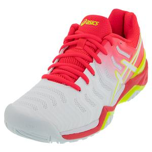 Women`s GEL-Resolution 7 Tennis Shoes White and Laser Pink