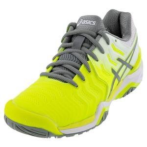 Women`s GEL-Resolution 7 Tennis Shoes Safety Yellow and Stone Gray