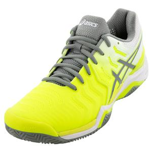 Women`s GEL-Resolution 7 Clay Tennis Shoes Safety Yellow and Stone Gray