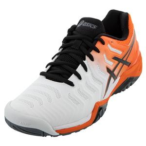 Men`s GEL-Resolution 7 Tennis Shoes White and Koi
