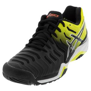 Men`s GEL-Resolution 7 Tennis Shoes Black and Sour Yuzu