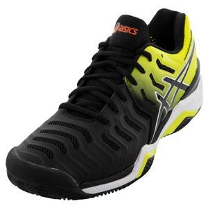 Men`s GEL-Resolution 7 Clay Tennis Shoes Black and Sour Yuzu