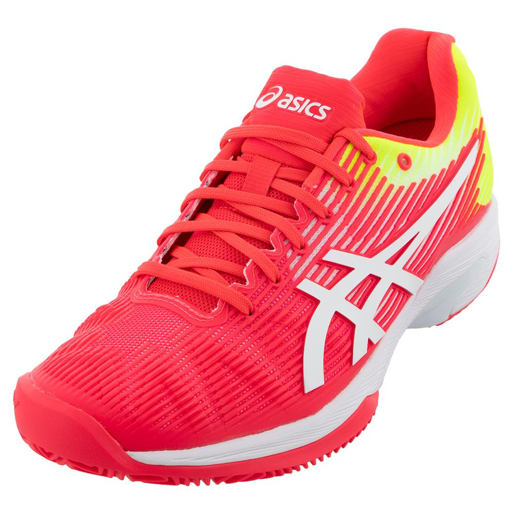 Asics Mens Solution Speed FF Clay Tennis Shoes Red Sports Breathable Lightweight