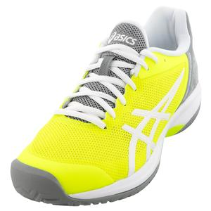 Women`s GEL-Court Speed Tennis Shoes Safety Yellow and Stone Gray
