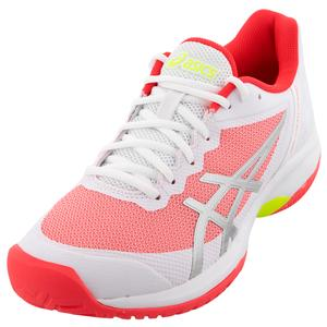 Women`s GEL-Court Speed Tennis Shoes White and Laser Pink
