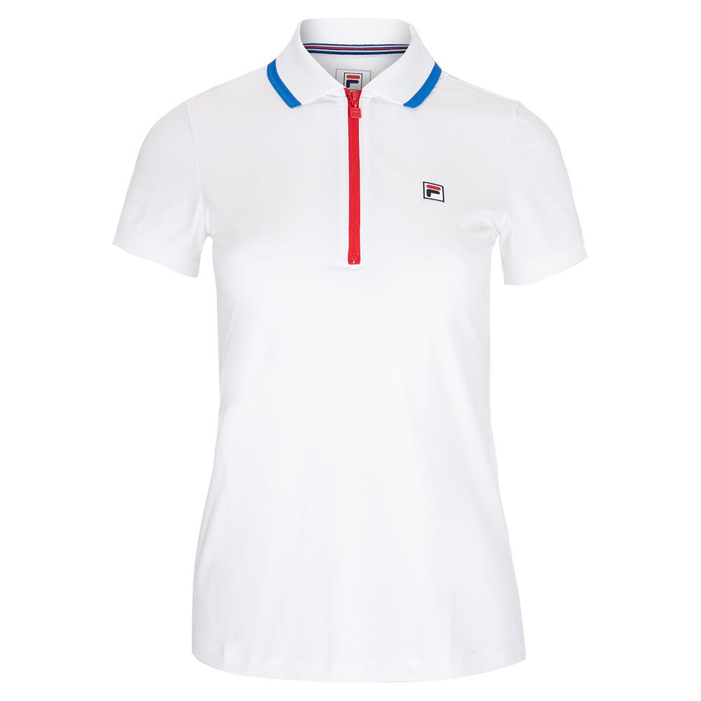 Fila Women's Tennis Polo in White and Electric Blue Trim