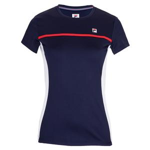 Women`s Short Sleeve Tennis Top Navy and White