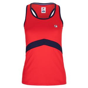 Women`s Racerback Tennis Tank Chinese Red and Navy