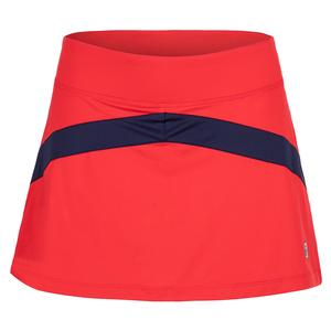 Women`s Colorblocked 13.5 Inch Tennis Skort Chinese Red and Navy