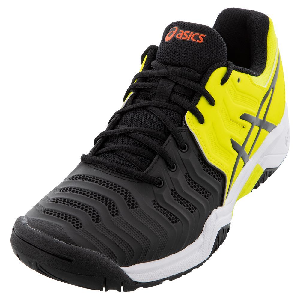 Juniors ` Gel- Resolution 7 Tennis Shoes Black And Sour Yuzu