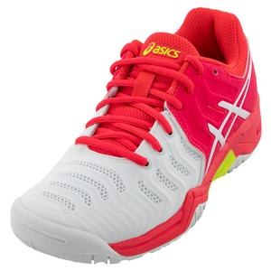 Juniors` GEL-Resolution 7 Tennis Shoes White and Laser Pink