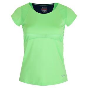 Women`s Ripple Effect Cap Sleeve Tennis Top Mint Green