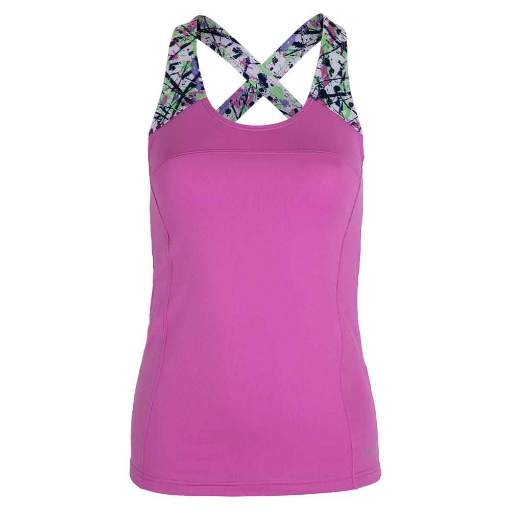 Women's Ripple Effect Racerback Tennis Tank Orchid And Print