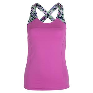 Women`s Ripple Effect Racerback Tennis Tank Orchid and Print