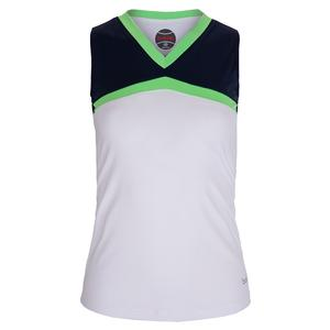 Women`s Ripple Effect Tennis Tank White and Iris