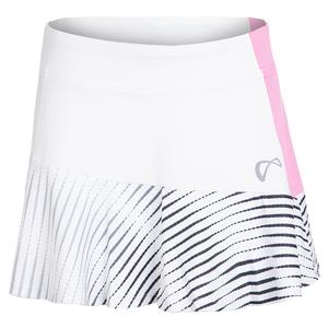 Women`s Lines Victory Tennis Skort White and Pink