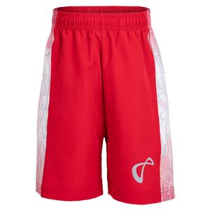 Boys` Amorphous Deuce Woven Panel Tennis Short Red