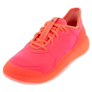Women`s Stella McCartney Court Boost Tennis Shoes Turbo and Hot Coral