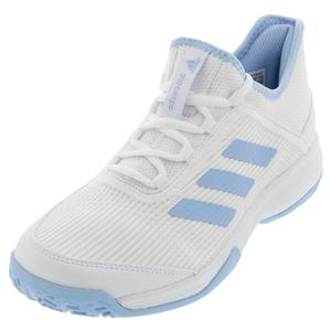 Juniors` Adizero Club K Tennis Shoes Core White and Glow Blue