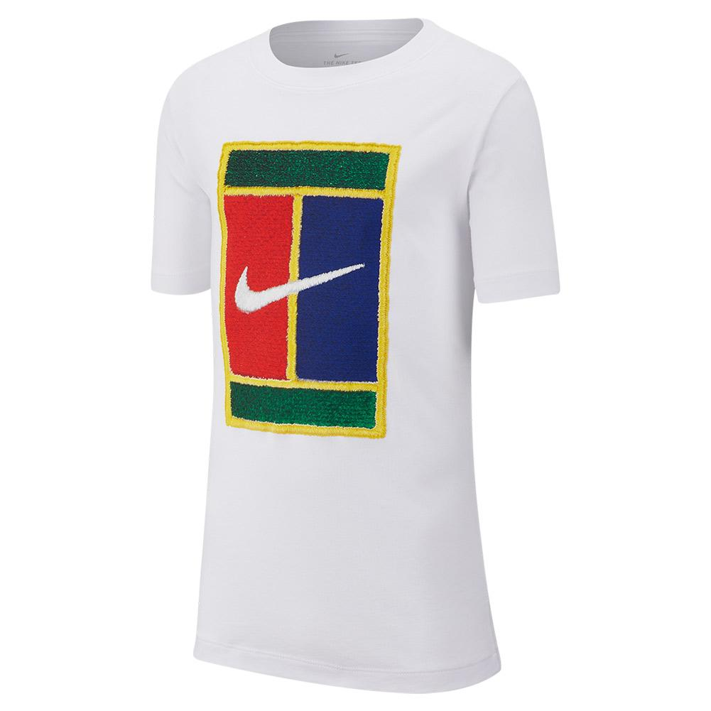Boys ` Court Heritage Logo Tennis Tee White