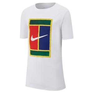 Boys` Court Heritage Logo Tennis Tee White