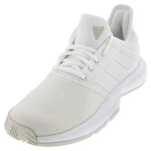 Women`s GameCourt Wide Tennis Shoes White and Matte Silver