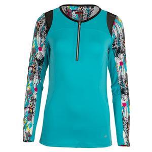 Women`s Footloose Long Sleeve Tennis Top Aqua and Print